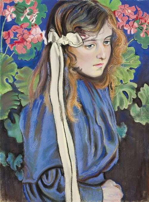 Stanisaw Wyspiaski Portrait of Liza Parenska Among Blossoming Pelargonium Flowers 1904